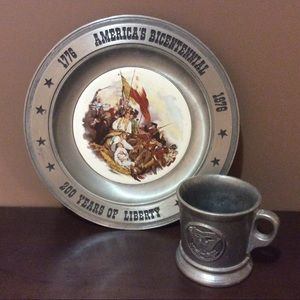 Bicentennial Pewter Dish and Cup